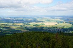 Zlate hory city from biskupska kupa tower. As nice landscape Stock Photos