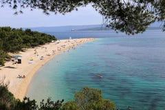 Zlatni在小岛布拉奇岛的鼠海滩在克罗地亚 库存图片