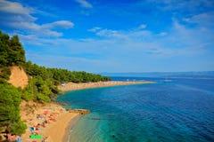 Zlatni rat beach on the island of Brac Stock Images