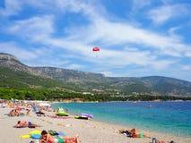 Zlatni Rat, the famus beach on Brac island, Croatia Royalty Free Stock Images