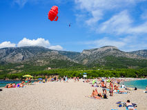Zlatni Rat, the famus beach on Brac island, Croatia Royalty Free Stock Photography