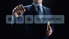 Zlecać na zewnątrz Globalnego Rekrutacyjnego biznesu i interneta pojęcie zdjęcia stock
