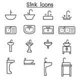 Zlew ikona ustawiająca w cienkim kreskowym stylu