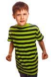 Zli dziecko chłopiec blondyny znęcać się gniewne agresywne walki Obraz Stock