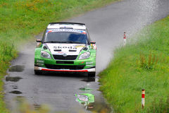 ZLIN, CZECH REP. - AUGUST 28 : Driver Hanninen. Juho and co driver Markkula Mikko in Skoda Fabia S2000 at speed stage no. 4 during Barum Czech Rally August 28 Stock Images