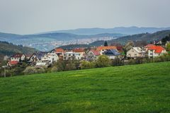 Zlin i Tjeckien Arkivbild