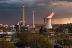 Zlin panorama with chimneys Royalty Free Stock Photos