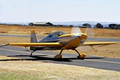 Zlin Z-50. An aerial stunts [aerobatics] light plane. Taxiing down the slipway to get airborne. [Zlin Z-50 royalty free stock photos