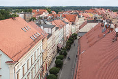 Zlotoryja,  germ. Goldberg,  Basztowa Street. Zlotoryja, Poland - June 16, 2015: Region: Lower Silesia. Top view of a charming Basztowa street Stock Image