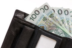 Zloty banknote in wallet Royalty Free Stock Image