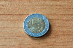 5 zloty coin for 100th anniversary of polish independence.  stock photo