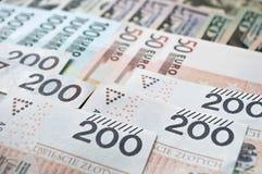 Zloty, euro y dólar polacos Imágenes de archivo libres de regalías