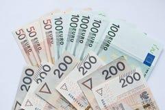 Zloty, euro y dólar polacos Imagen de archivo libre de regalías