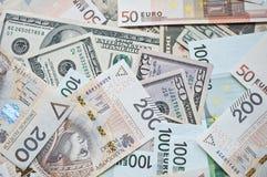 Zloty, euro y dólar polacos Fotos de archivo libres de regalías