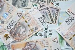 Zloty, euro y dólar polacos Fotografía de archivo