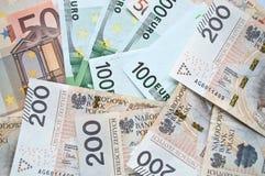 Zloty, euro y dólar polacos Imagen de archivo