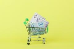 Zloty polacca nel carretto a mano di acquisto, fondo giallo Immagine Stock