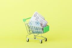 Zloty polacca nel carretto a mano di acquisto, fondo giallo Immagini Stock Libere da Diritti
