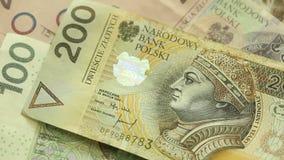 Zloty polaco del dinero HD lleno con el resbalador motorizado 1080p Fotografía de archivo libre de regalías