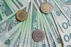 Zloty polaco, monedas y billetes Foto de archivo libre de regalías
