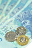 Zloty polish banknotes and coins Royalty Free Stock Images
