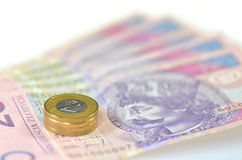 Zloty polish banknotes and coins Royalty Free Stock Photos