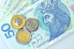 Zloty polish banknotes and coins Stock Photo