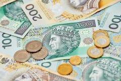 Zloty polonês do dinheiro da moeda Fotos de Stock