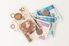 Zloty, soldi dalla Polonia Immagini Stock