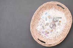 Zloty wicker basket Stock Images