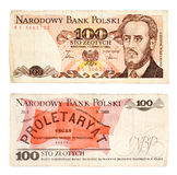 100 Zlotych 1986 Banknote from Poland isolated on white Royalty Free Stock Photo