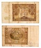 100 Zlotych die Banknote 1940 von Polen lokalisierte auf Weiß Stockfotografie