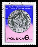 100 zlotych, Poland's millenium, 1966, Silver coins serie, circa 1977. MOSCOW, RUSSIA - SEPTEMBER 15, 2018: A stamp printed in Poland shows 100 zlotych, Poland's stock photos