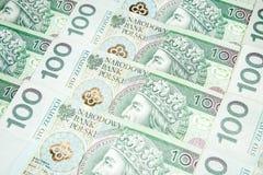 100 zlotysedlar - polsk valuta Arkivbild