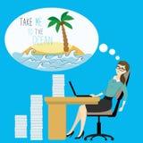 Zmęczeni biznesowej kobiety sen ocean wyspa, royalty ilustracja