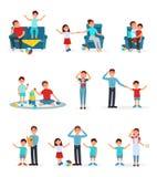 Zmęczeni rodzice i ich dzieci ustawiają, wyczerpywali, rodziców bawić się, czyta i dba dla ich dzieci wektorowych, royalty ilustracja