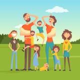 Zmęczeni rodzice z wiele dziećmi na natury tła płaskiej wektorowej ilustraci ilustracja wektor