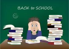 Zmęczona chłopiec przy biurkiem szkoła, z powrotem, wektorowa ilustracja ilustracja wektor
