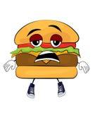 Zmęczona hamburger kreskówka ilustracja wektor