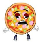 Zmęczona pizzy kreskówka ilustracja wektor