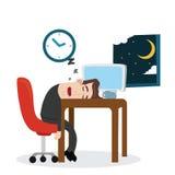 Zmęczony biznesmena dosypianie przy pracą royalty ilustracja