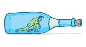 Zmęczony biznesmena lub workaholic czołganie w wino butelce Zdjęcie Stock