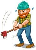 Zmęczony lumberjack z cioską royalty ilustracja