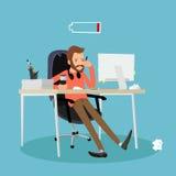 Zmęczony mężczyzna przy pracą ilustracji