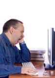 Zmęczony komputerowy facet Zdjęcia Stock