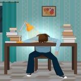 Zmęczony studencki spada uśpiony na książce ilustracji