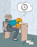 Zmęczony uczeń ilustracja wektor