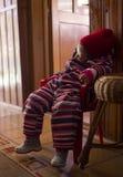 Zmęczony dziecko od narciarstwa Zdjęcie Stock