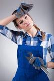 Zmęczony kobiety mienia wyrwanie Fotografia Stock