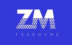 ZM Z M Dotted Letter Logo Design con el fondo azul Fotografía de archivo